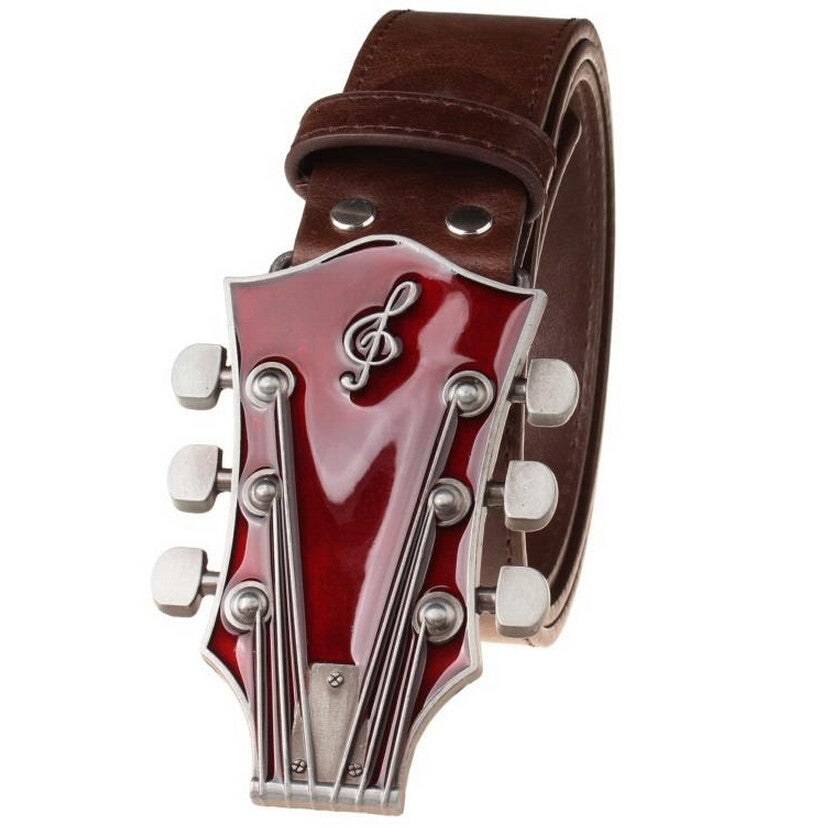 Guitar Metal Belt Buckle with Belt - Great Guitar Gifts
