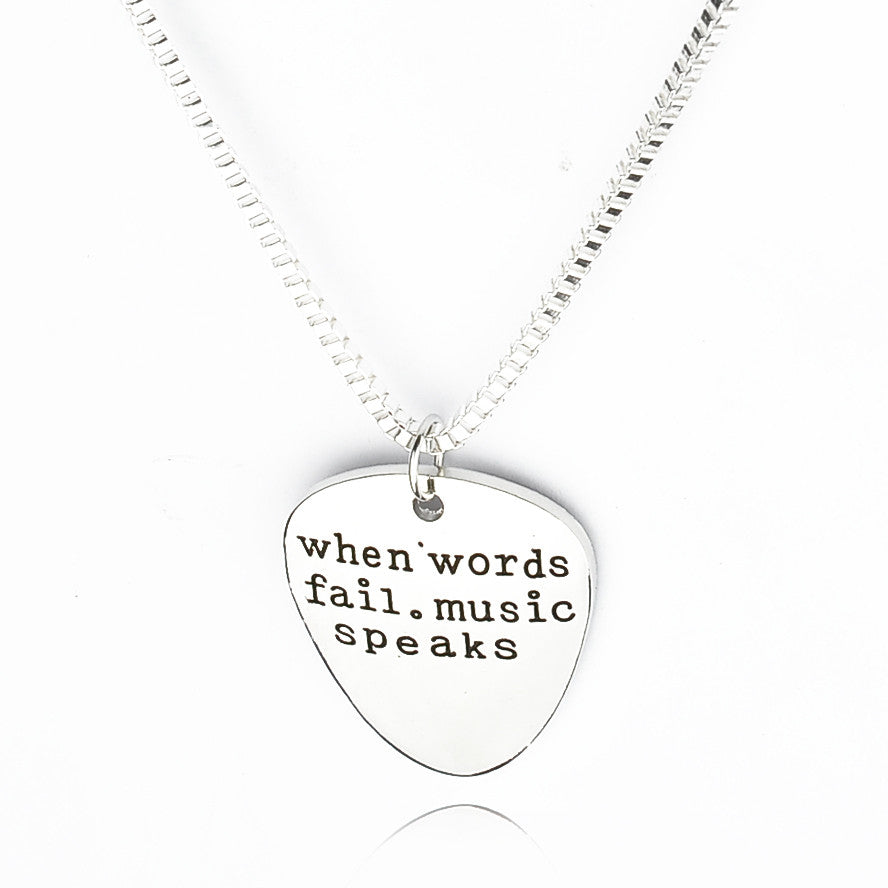 Hand Stamped Guitar Pick Necklace - Great Guitar Gifts