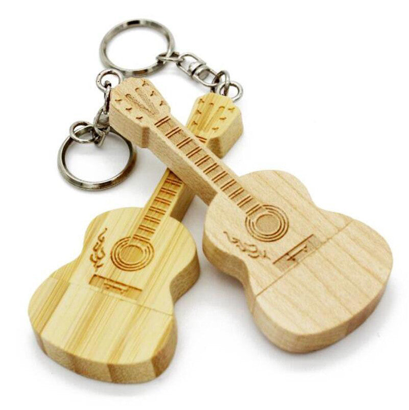 Wooden Guitar Shaped USB Drive Keyring - Great Guitar Gifts