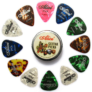 12 Assorted Picks In Cute Metal Box - Great Guitar Gifts