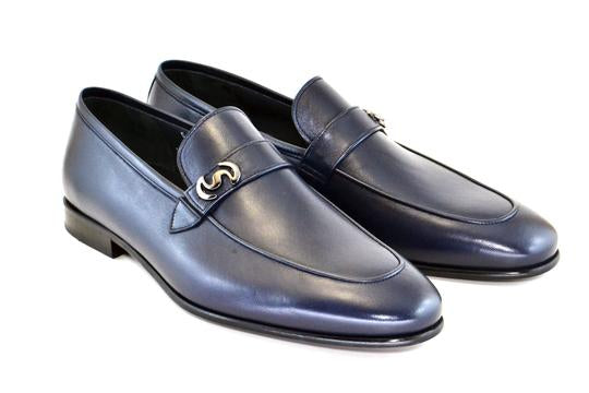 Corrente -C5605-Black Leather Calf Skin Loafer w/ Side Metallic Logo