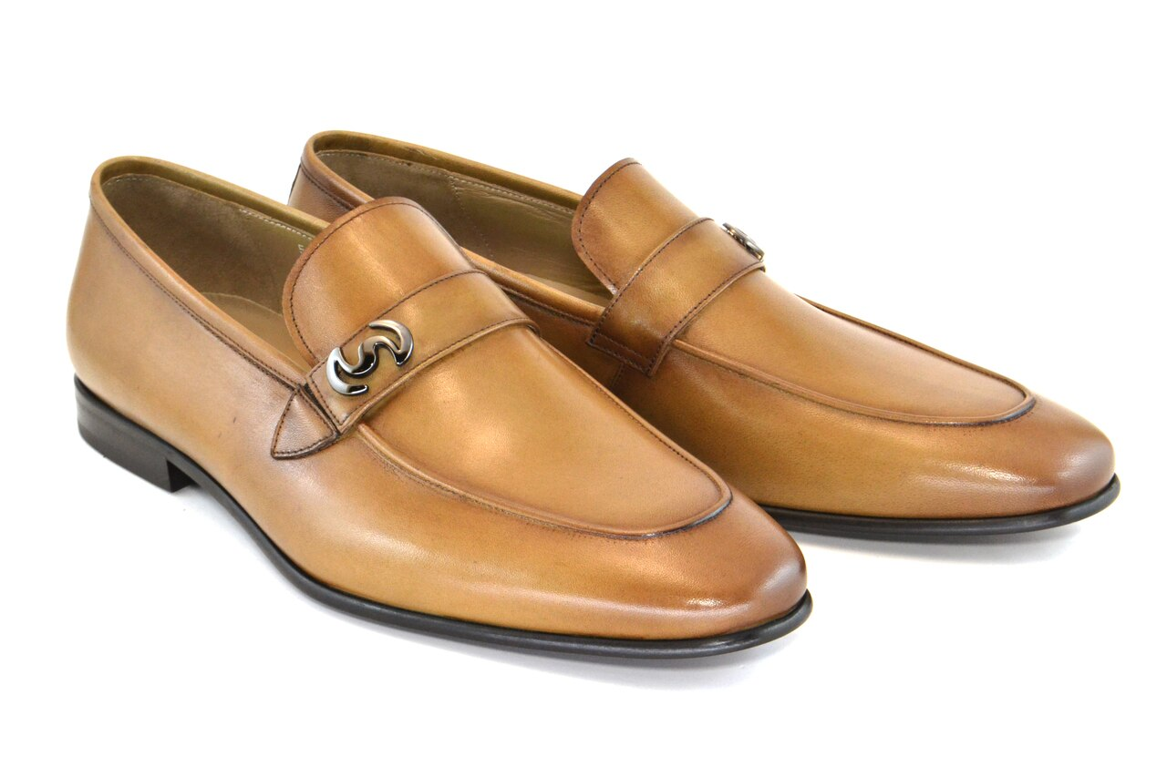 Corrente -C5605- Walnut  Leather Calf Skin Loafer w/ Side Metallic Logo