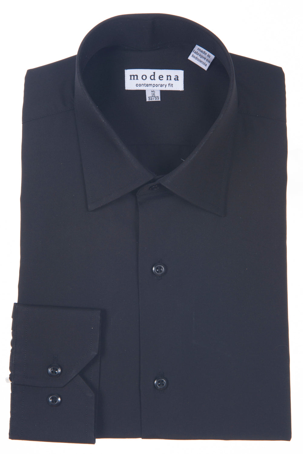 Modena - Black - Solid - Cotton Blend - Dress Shirt - Contemporary Fit.