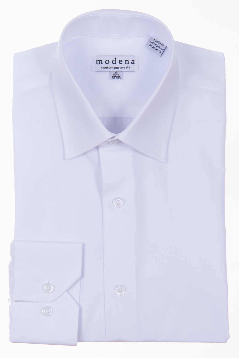 Modena - White - Solid - Cotton Blend - Dress Shirt - Contemporary Fit.