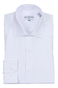 Modena - White - Solid - Cotton Blend - Dress Shirt - Slim Fit