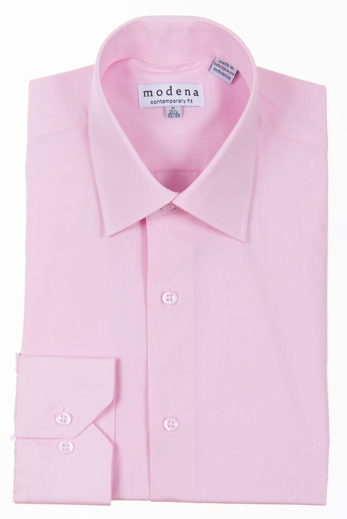 Modena - Pink - Solid - Cotton Blend - Dress Shirt - Contemporary Fit.