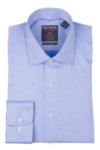 Proper Shirtings - Blue - Dress Shirt - 100% Cotton - 100's 2-ply - Wrinkle Free - Contemporary Fit