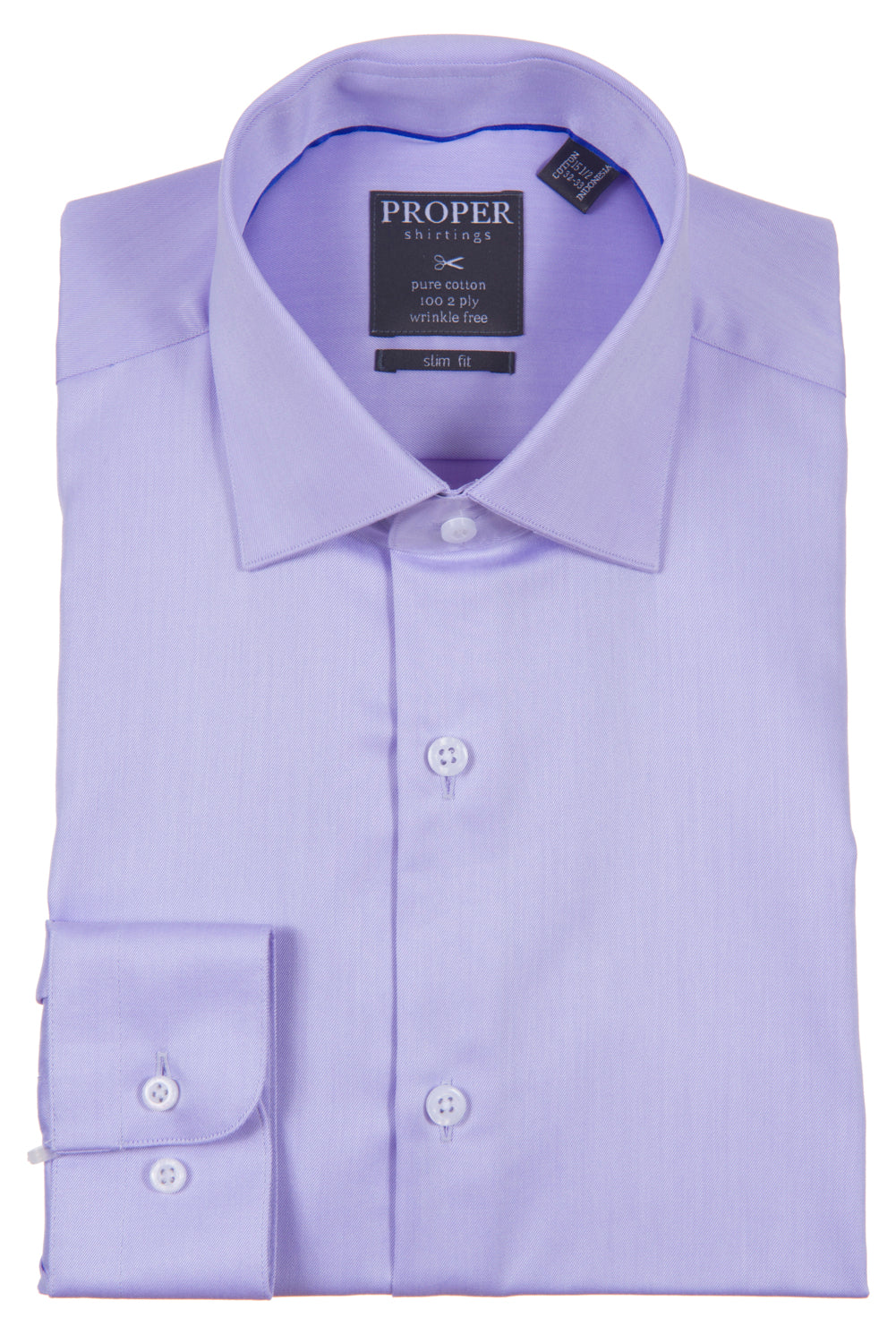 Proper Shirtings - White -100% Cotton - 100's 2-ply - Wrinkle Free - Dress Shirt - Slim Fit