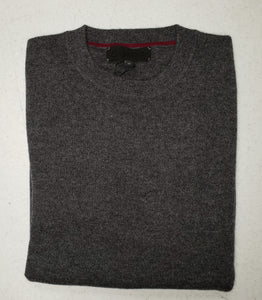 "Quinn - Men's, Luxurious, 100% 2-ply Cashmere, ""Crew-Neck""- Charcoal"