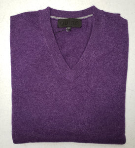"Quinn - Men's Luxurious 100% 2-ply Cashmere ""V-Neck""- Purple Heather"