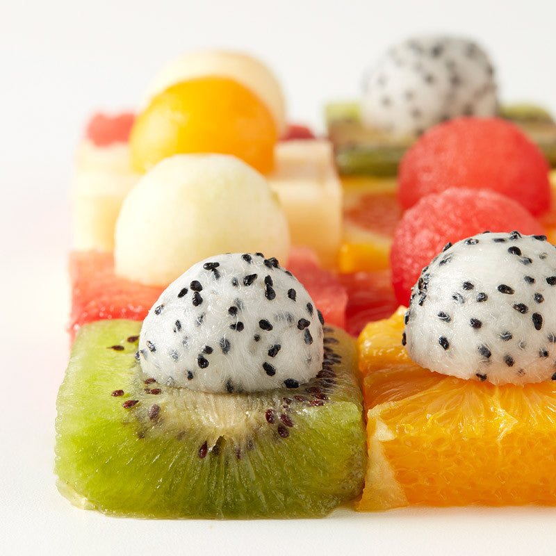 Plateau de fruits en damier