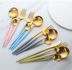 Premium Golden Stainless Steel Cutlery- 24PCS SET