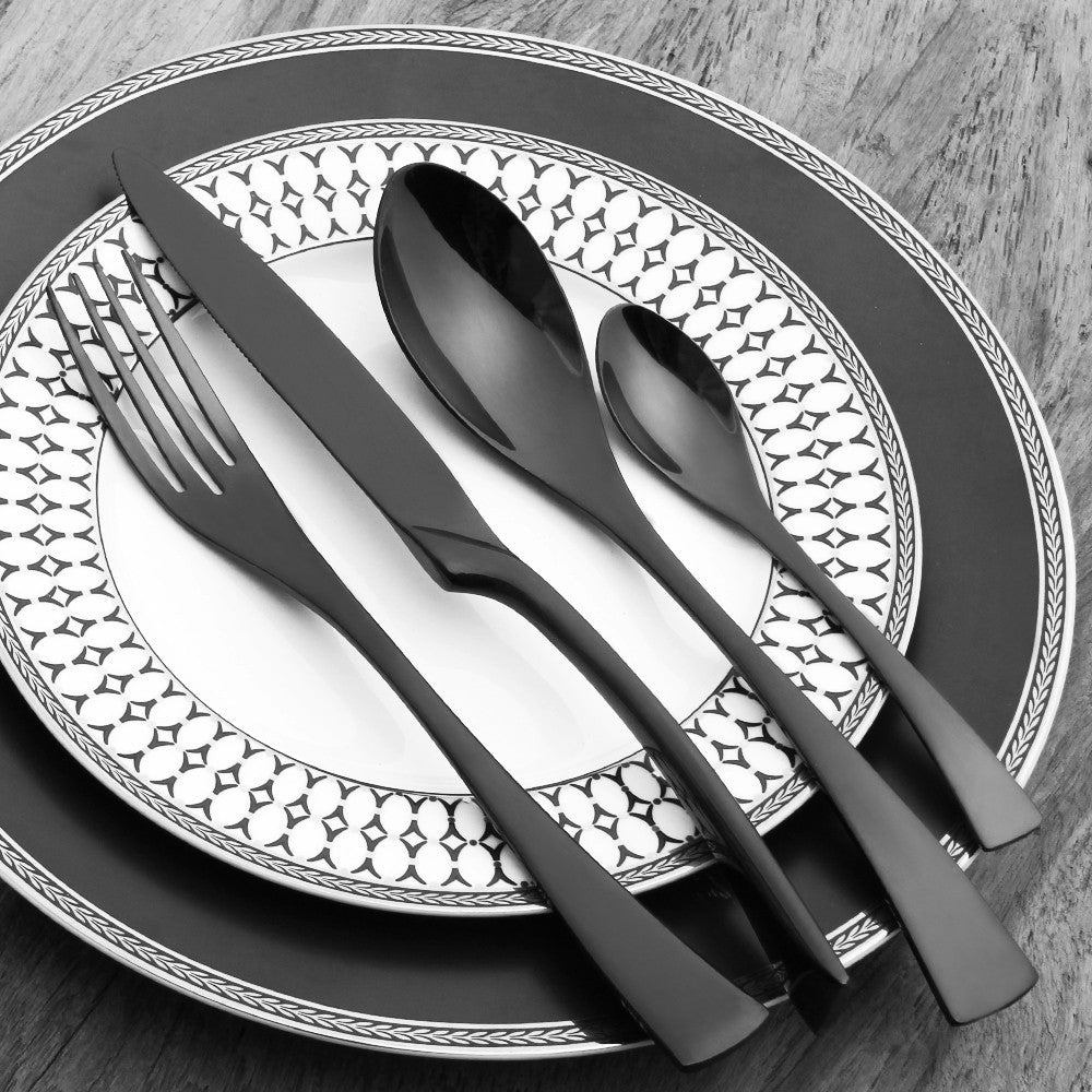 Elegant Black Matte Stainless Steel Cutlery Set : white and black dinnerware - pezcame.com