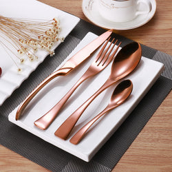 Elegant Rose Gold Stainless Steel Cutlery- 24PCS Set