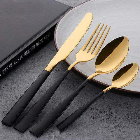 Gold and Black Stainless Steel Cutlery Set