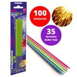 "Bulk Buy 7"" Inch Green Coated Gold Effect Indoor & Outdoor (18cm) Sparklers (PACK OF 100)"