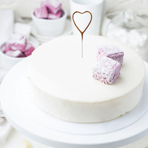 Heart Shaped Cake Sparklers - Set Of 1 - Heart Shaped Gold Pearl Wedding Sparkler Candles (17cm)
