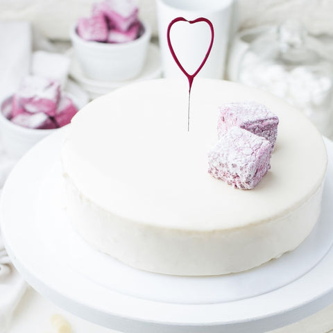 Heart Shaped Cake Sparklers - Set Of 1 - Heart Shaped Pink Pearl Wedding Sparkler Candles (17cm)