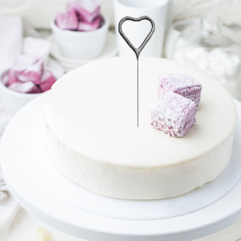 Heart Shaped Cake Sparklers - Set Of 1 - Heart Shaped Silver Pearl Wedding Sparkler Candles (17cm)