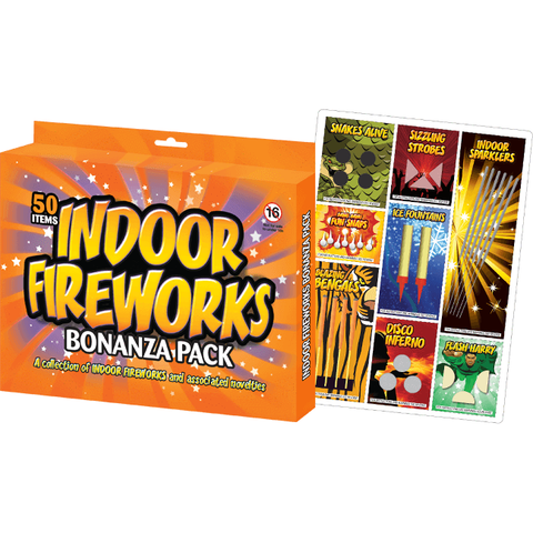50 Assorted Indoor Fireworks Bronze Pack (8 different effects)