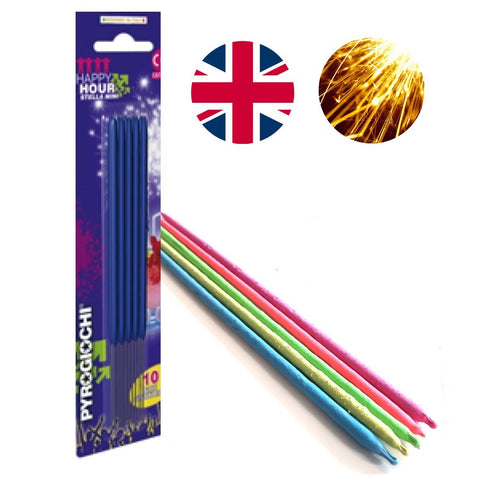 "Bulk Buy 7"" Inch Blue Coated Gold Effect Indoor & Outdoor (18cm) Sparklers (PACK OF 100)"