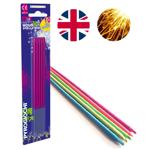 "Bulk Buy 7"" Inch Pink Coated Gold Effect Indoor & Outdoor (18cm) Sparklers (PACK OF 50)"