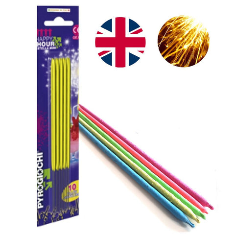 "Bulk Buy 7"" Inch Yellow Coated Gold Effect Indoor & Outdoor (18cm) Sparklers (PACK OF 150)"