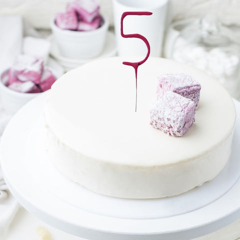 Number Cake Sparklers - Set Of 1 - Number 5 Pink Shiny Wedding Sparkler Candles (17cm)