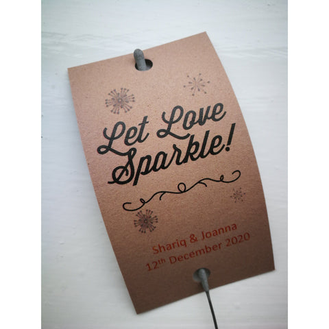 Sparkler Tags - Wedding Party Favour Tags With FREE 40 Cm Sparklers