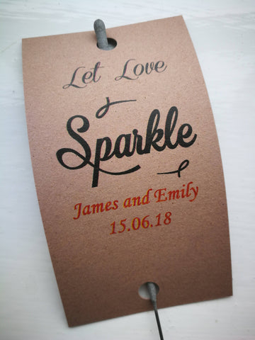 Sparkler Tags - Wedding Reception Tags With FREE Giant Sparklers