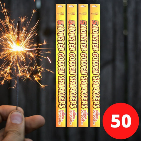 "Sparklers - Bulk Buy 18"" Inch Indoor Gold Effect (45cm) Sparklers (PACK OF 50)"