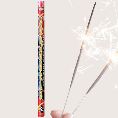 Sparklers - Pack Of 10 Scorpion - Coloured, Gold And Crackling Mix Of Medium And Regular Sparklers