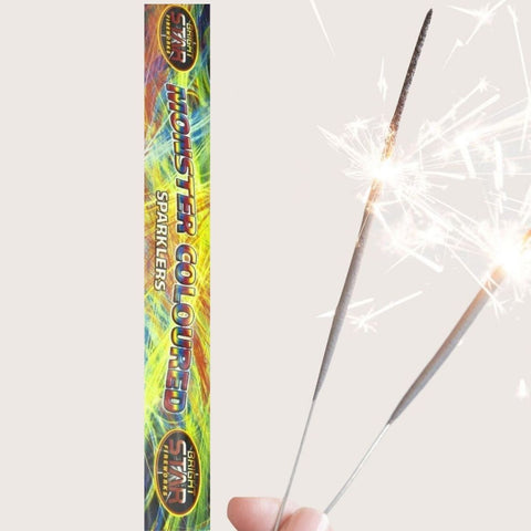"Pack Of 4 Bright Star – 14"" Inch Coloured Monster Long Sparklers"