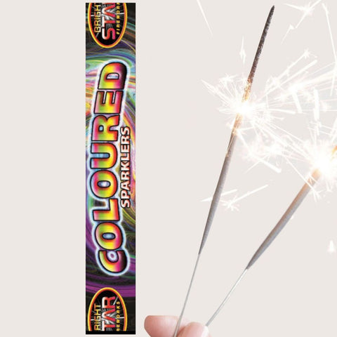 "Pack of 5 Bright Star – 10"" Inch Coloured Medium Sparklers"