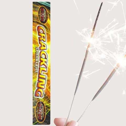 "Pack of 5 Bright Star – 10"" Inch Medium Crackling Sparklers"