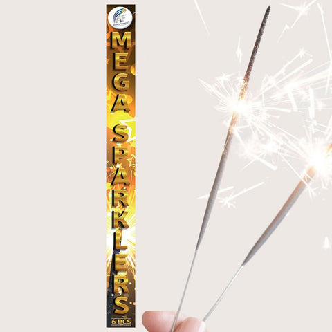 "Sparklers - Pack Of 6 Absolute – 18"" Inch Gold Effect Big Sparklers"