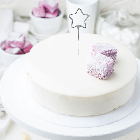 Star Shaped Cake Sparklers - Set Of 1 - Star Shaped Silver Pearl Wedding Sparkler Candles (17cm)
