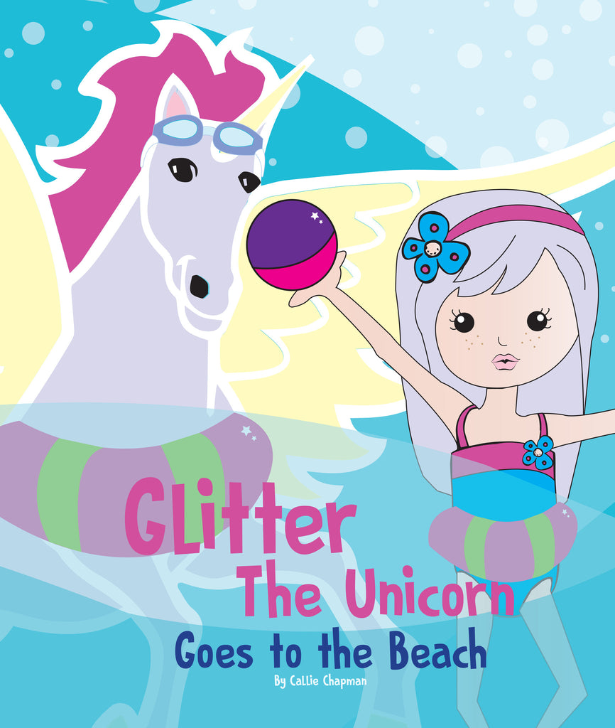 Glitter the Unicorn Goes to the Beach - Purple Dragonfly Winner - 1st Place