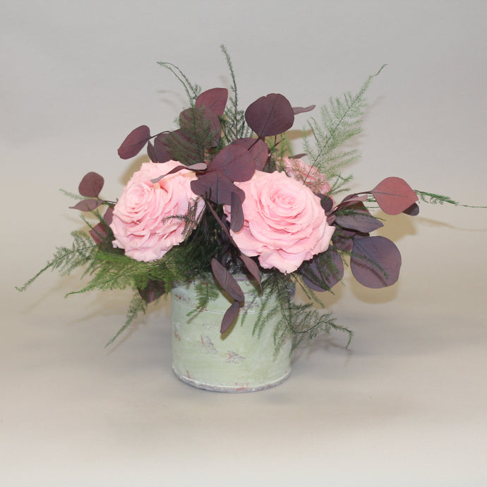 Ceramic Pot with Huge Pink Roses