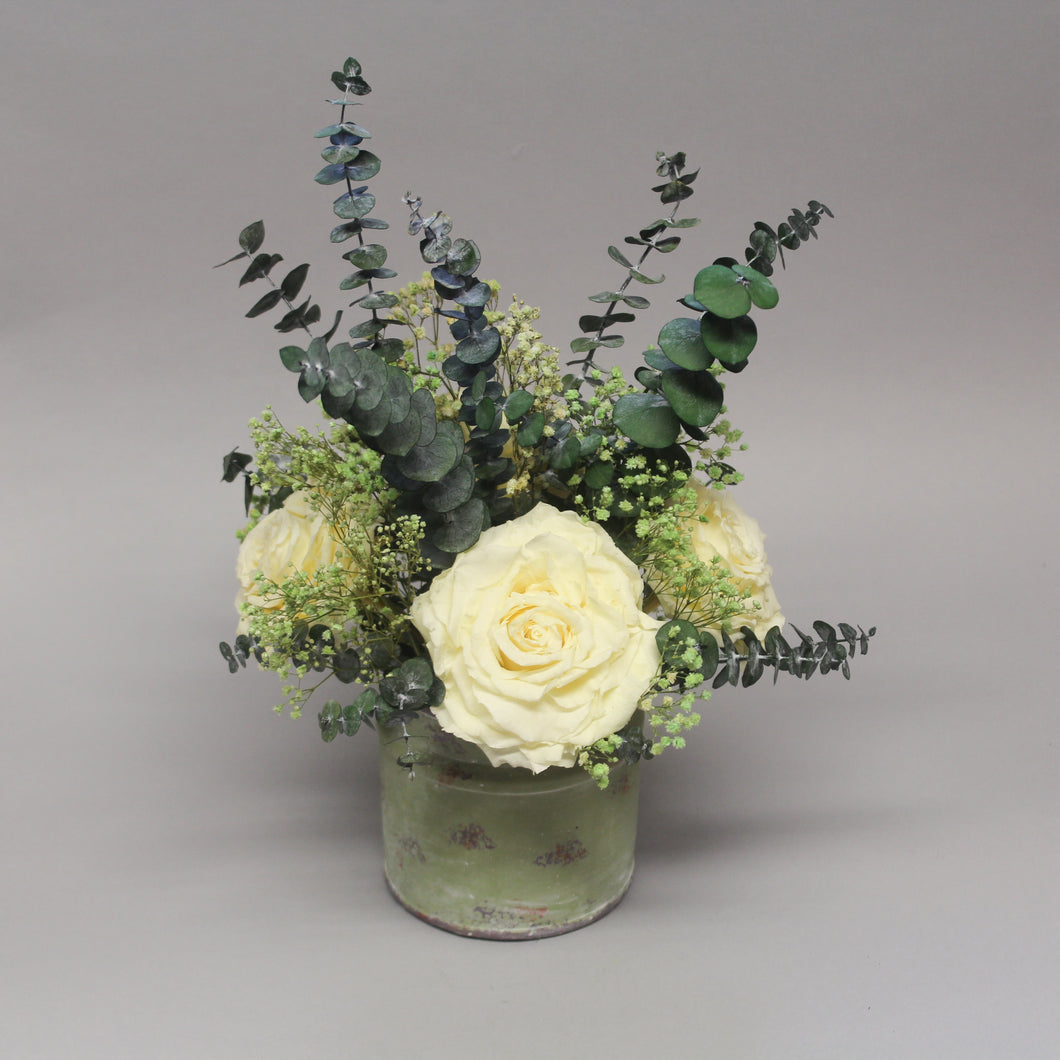 Ceramic Pot With Cream Roses
