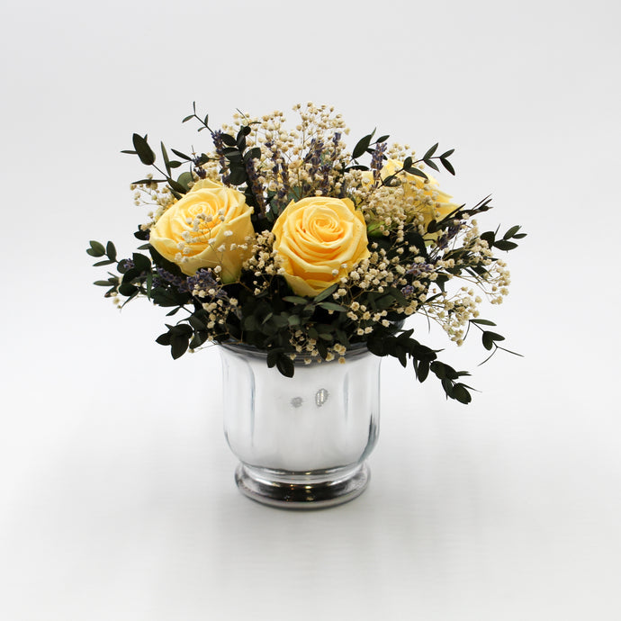 Silvered Glass Vase With Creamy Peach Roses