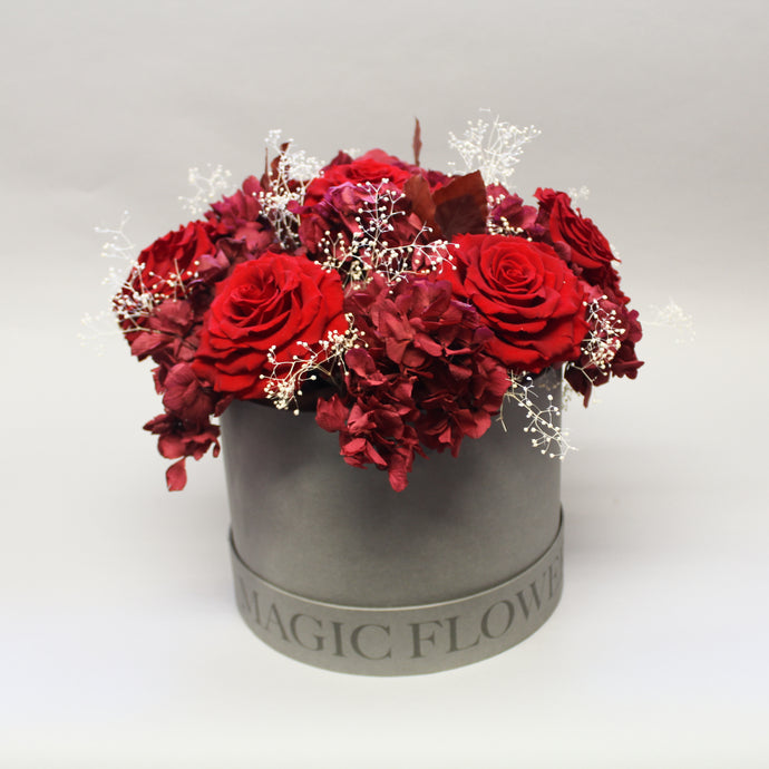 Red Hatbox Arrangement