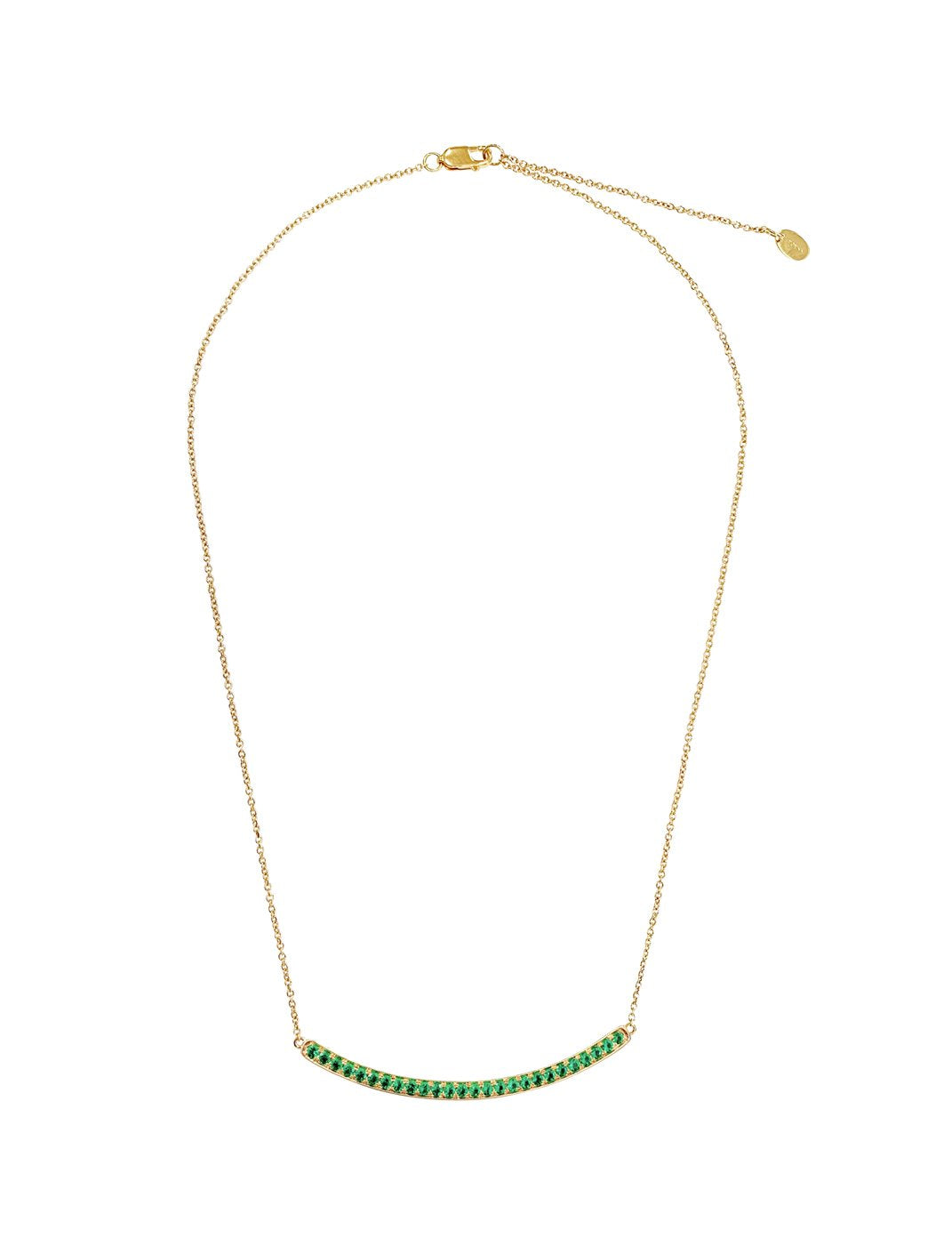 Fiorina Jewellery Arc Necklace Yellow Gold Emerald