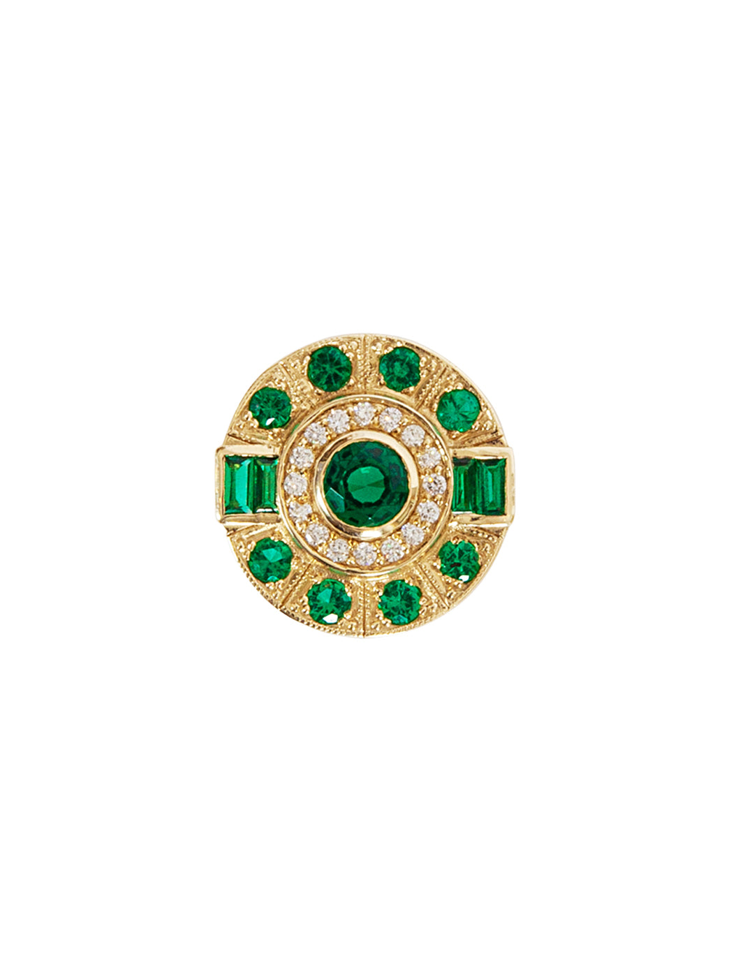 Fiorina Jewellery Aztec Ring Emerald