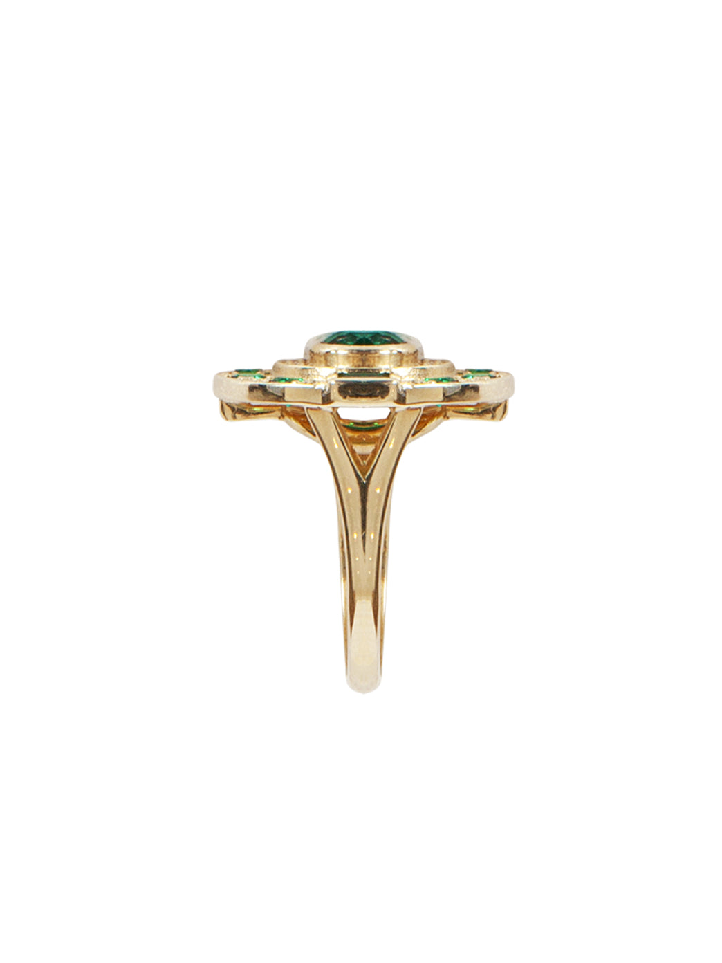 Fiorina Jewellery Aztec Ring Emerald Shank View