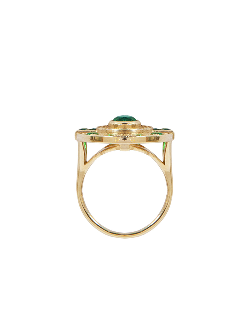 Fiorina Jewellery Aztec Ring Emerald Side View