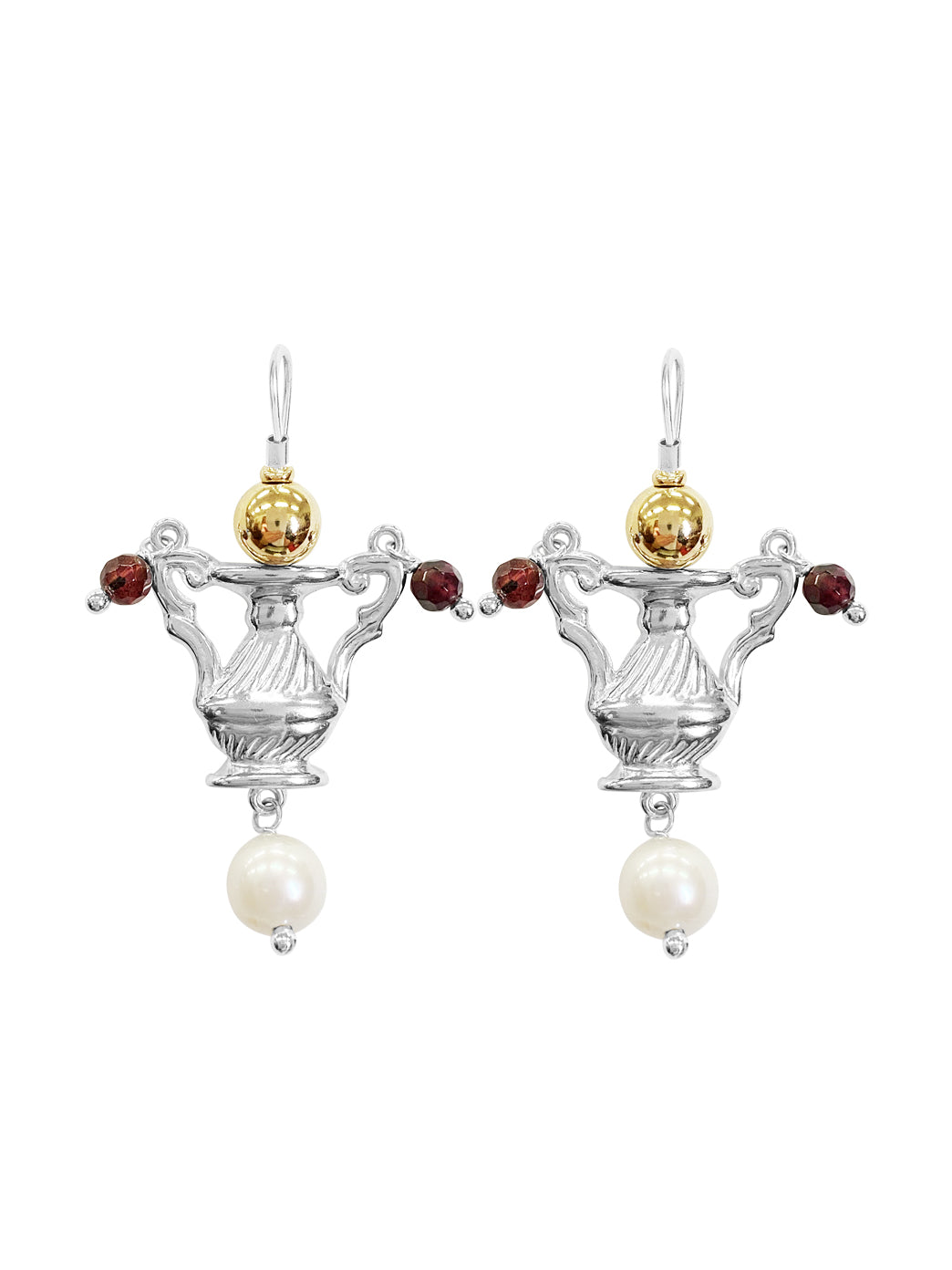 Fiorina Jewellery Como Urn Earrings Garnet and Pearl