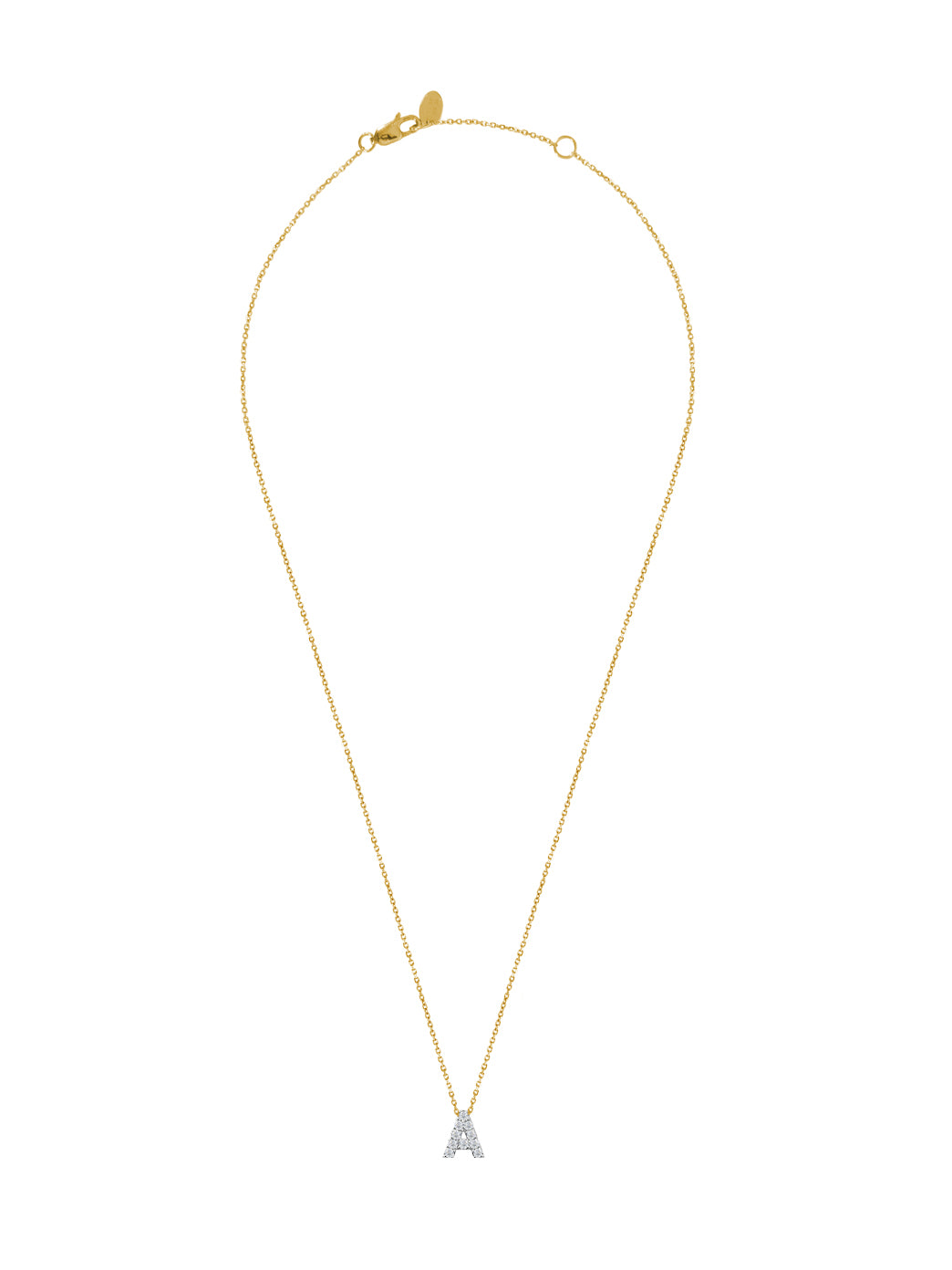 Fiorina Jewellery Diamond Alphabet Street Necklaces Gold Chain A