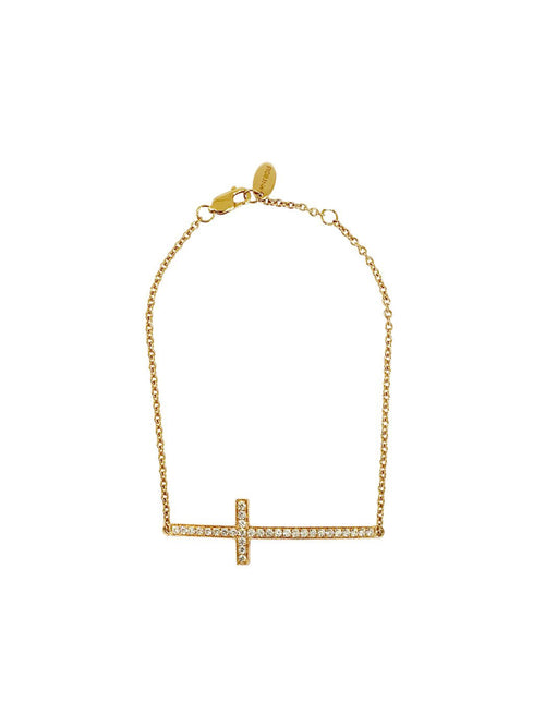 Gold Diamond Side Cross Bracelet