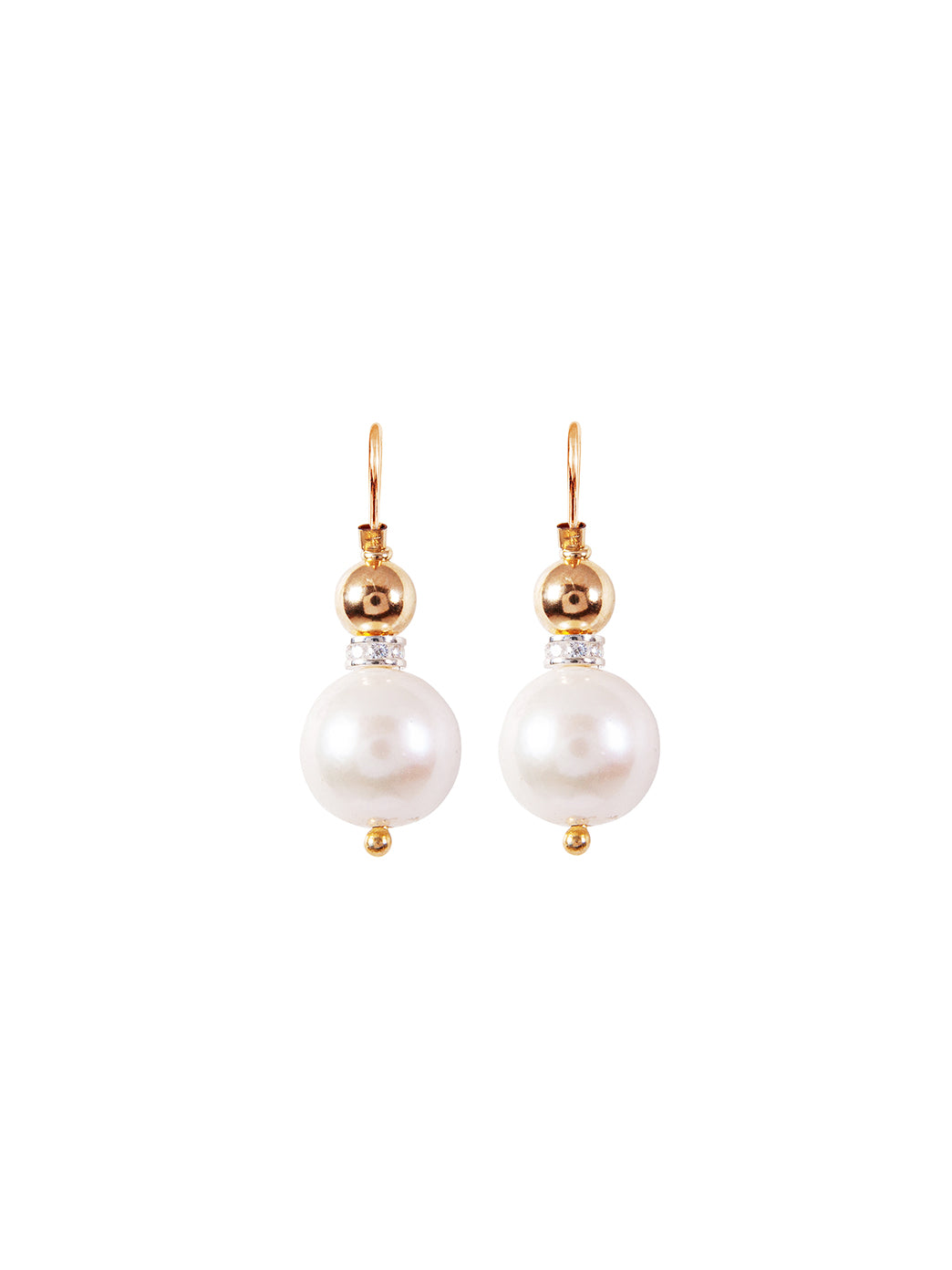 Fiorina Jewellery Elite Double Ball Earrings Pearl Gold Highlights